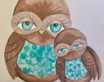 Owl painting -Aqua & teal
