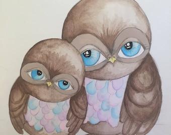 Owl painting -Pastel colours