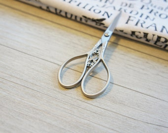 SILVER embroidery scissor, Gray Stainless Steel Scissors, decorative scissor, sewing, Scissors, sewing supplies, perfect gift,