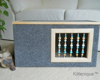 Gray Beaded Cat House - Wooden Cat Furniture - Unique Beaded Doorway and Window with Sterling Silver - Deluxe Carpeted Cat Condo, Cat Cave.