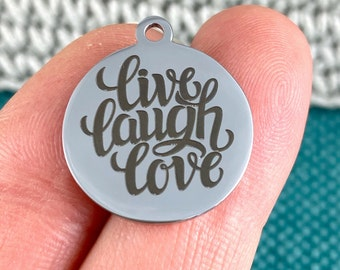 1 Charm Live Love Laugh laser engraved charm Heart shaped charm stainless steel 19 mm charm Gold tone charm
