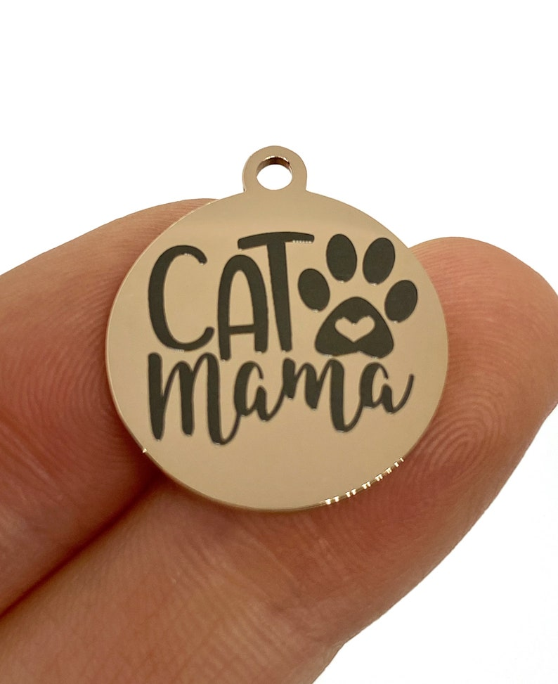 19 mm charm stainless steel 1 Charm Cat Mama Laser Engraved Charm rose tone