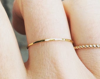 Thin Gold Stacking Ring - Hammered
