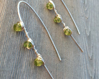 Peridot and Hammered Sterling Silver Arch Earrings, Peridot Earrings, August Birthstone