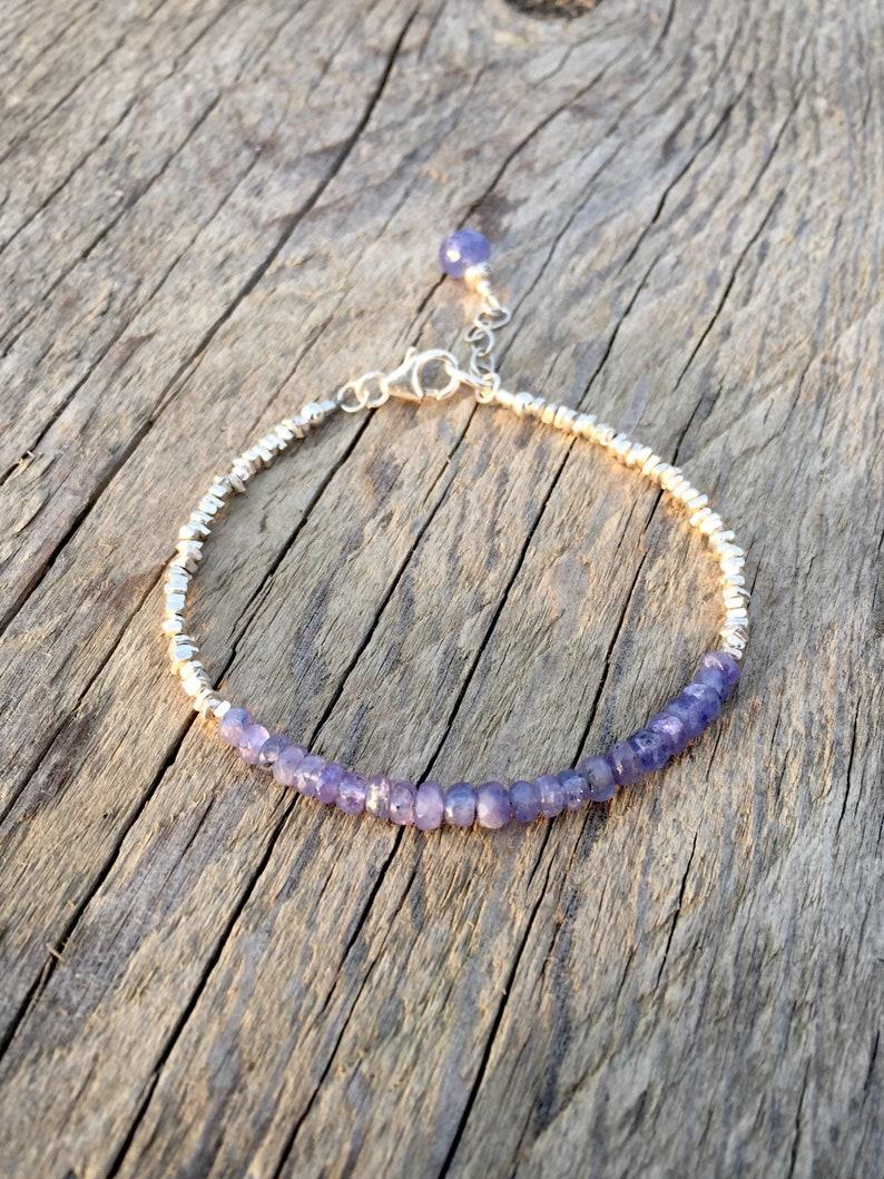 Tanzanite Gemstone and Fine Silver Nugget Bracelet