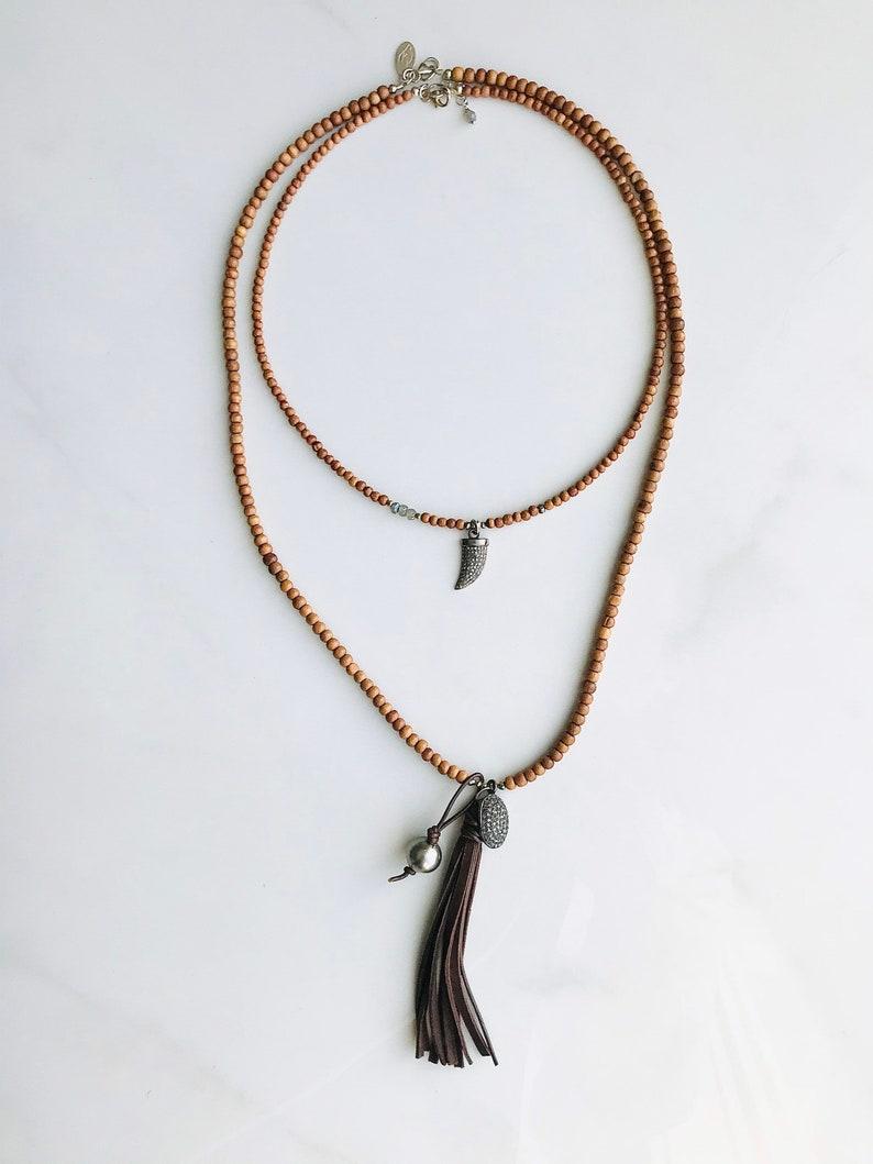 Diamond Horn Pendant /& Sandalwood Necklace