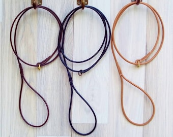 Leather Dog Show Slip Leash - Premium Round / Rolled Leather