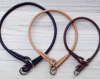 Leather Dog Slip Collar - Premium Round / Rolled Leather