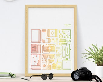 A2 Travel Screen Print For Outdoor Camping and Exploration lovers Adventure Art Print
