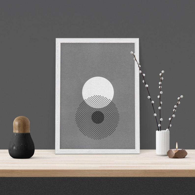 Abstract Number /'8/' A3 Minimal Geometric Screen Print Geometric Shape Illustration