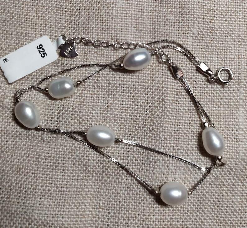 925 Sterling Silver Platinum Plated Double Chain Pearl Bracelet  \u2013 8167 Freshwater Pearl Bracelet