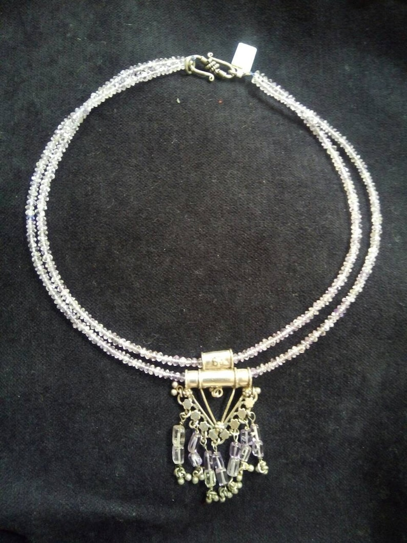 Amethyst Beaded Necklace with Sterling Silver PendantBeaded Boho NecklaceDouble Strand Amethyst NecklaceGemstone Necklace \u2013 6531