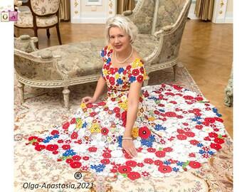 Irish Crochet Lace Pattern Dress - Bridal Suit - Bright Bridal Short Dress and Poncho Skirt -vintage crochet - crochet tutorials .