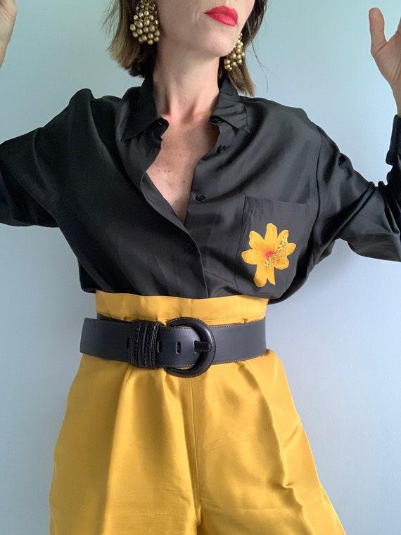 Vintage Silk Flower Black Yellow Mustard  Blouse &