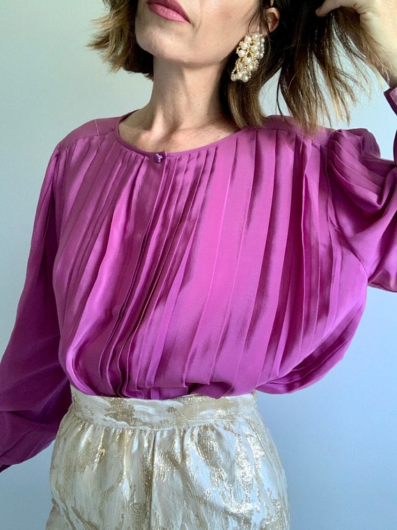 Vintage GUCCI Rose Pink Pleated Balloon Sleeves Si
