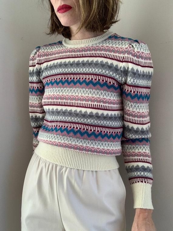 Vintage 80s Multicolor Puffed Shoulder Striped Pu… - image 5