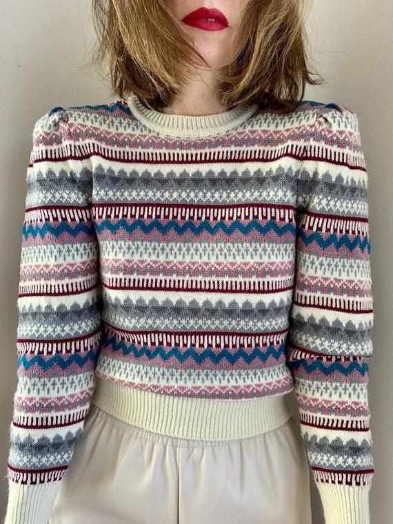 Vintage 80s Multicolor Puffed Shoulder Striped Pu… - image 2