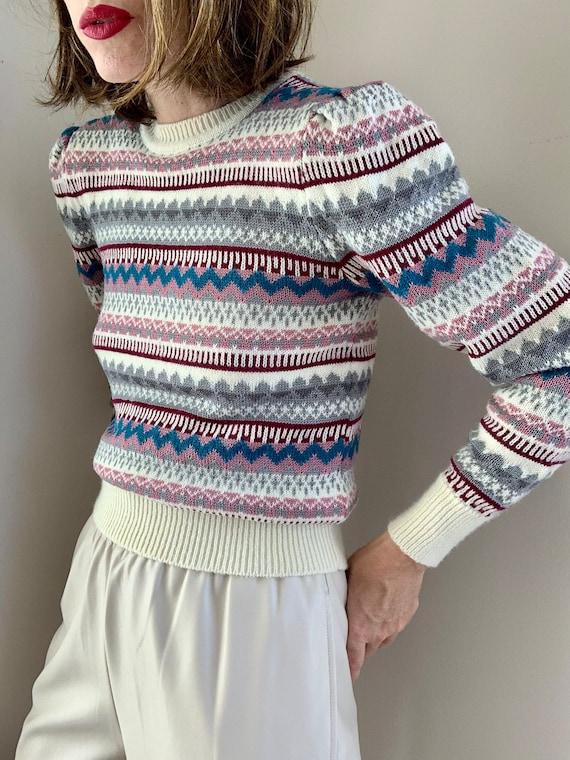Vintage 80s Multicolor Puffed Shoulder Striped Pu… - image 4