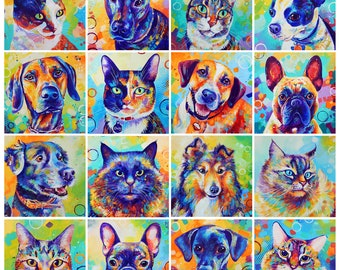colorful animal art etsy