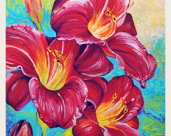 """Red Lilies - Original painting, one of a kind, flower, floral, colorful, traditional painting, acrylic, heavy paper 9x12"""""""