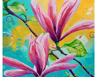 """Pink Magnolias - Original painting, one of a kind, flower, floral, colorful, traditional painting, acrylic, heavy paper 9""""x12"""""""