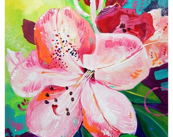 """Pink Rhododendron - Original painting, one of a kind, flower, floral, colorful, traditional painting, acrylic, heavy paper 8.5""""x11"""""""