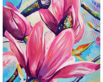 """Pink Magnolia - Original painting, one of a kind, flower, floral, colorful, traditional painting, acrylic, heavy paper 8.5""""x11"""""""