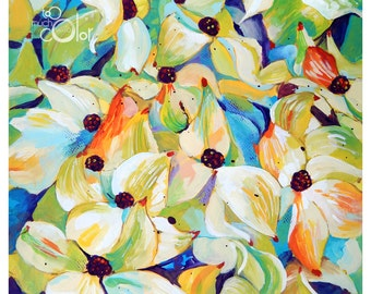 """Cornus Kousa - Original painting, one of a kind, flower, floral, colorful, traditional painting, acrylic, heavy paper 11""""x14"""""""