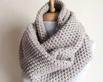Extra Large Tan knit infinity scarf wool scarf chunky knit scarf circle  winter scarf womens scarf   FAST DELIVERY fe3099b93c5a5