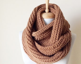 Beige Scarf, Chunky Knit Scarf, Men Scarf, infinity scarf, Camel  Scarf, Cowl, Knit Scarf , man scarf, women scarf, Many Colors