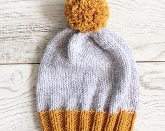 Chapeau, bonnet enfant, bonnet en tricot, pompon tricot Bonnet, bonnet  tricot, bonnet, bonnet personnalisé tricot bonnet long 5739ef35ddb