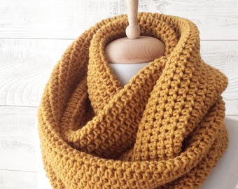 Mustard knit infinity scarf wool scarf chunky knit scarf circle winter scarf womens scarf / FAST DELIVERY