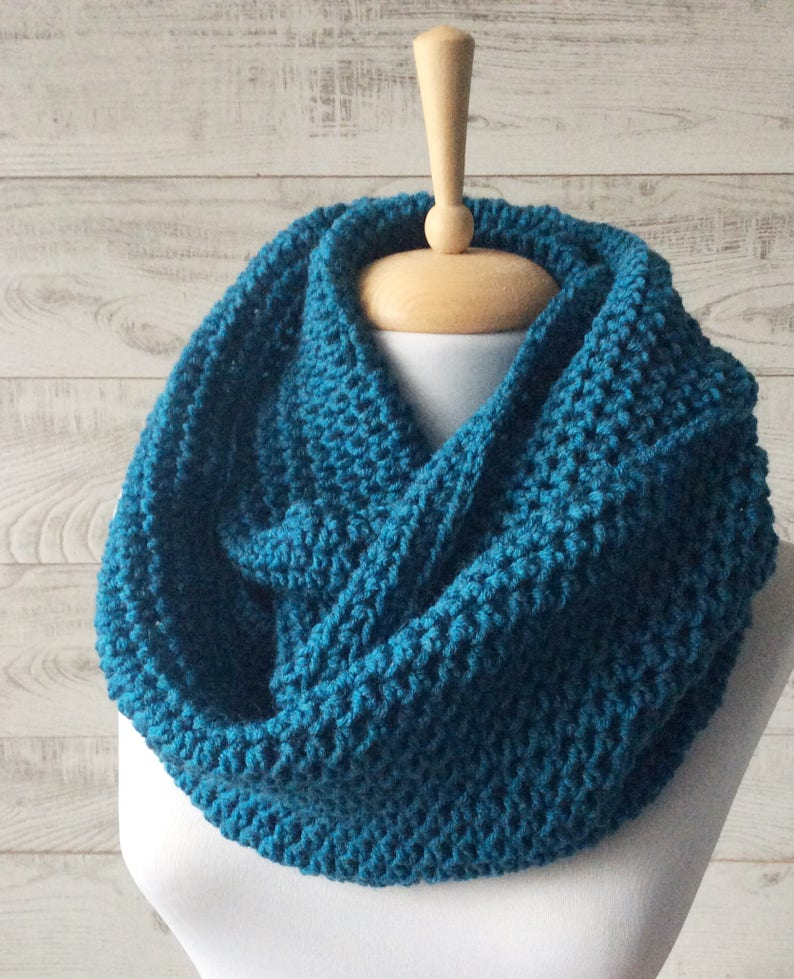 ef988495e2c2f Teal knit infinity scarf wool scarf chunky knit scarf circle | Etsy