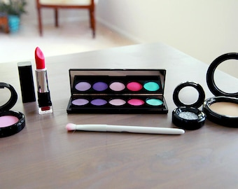 9a4642a14 Pretend Makeup Set For Your Munchkin - Play Makeup - Looks Real Fake Makeup  - Makeup Vanity Set - Pretend Play - Makeup Brush Set Kid Makeup