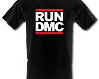 LAUFEN DMC Hip Hop retro Rap Classic Logo 100 % Baumwolle T-shirt alle Größen klein - XXL (Kinder und Erwachsene)