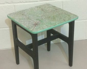 Cute Retro Mid Century Coffee Table / Side Table Upcycled Using Vintage  French Road Map And Farrow U0026 Ball Paint