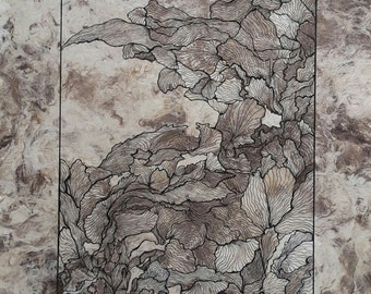 NATURE I, Original ink drawing on handmade paper , leaves, black
