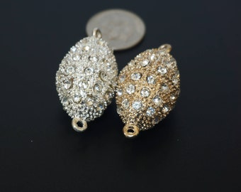Magnetic Clasp with rhinestones. 18x25mm. Silver or gold. Lead Nickel Free. Rhinestone Ball Clasps