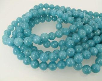 Angelite round beads 10mm. Blue gemstone beads 10mm. Full strand