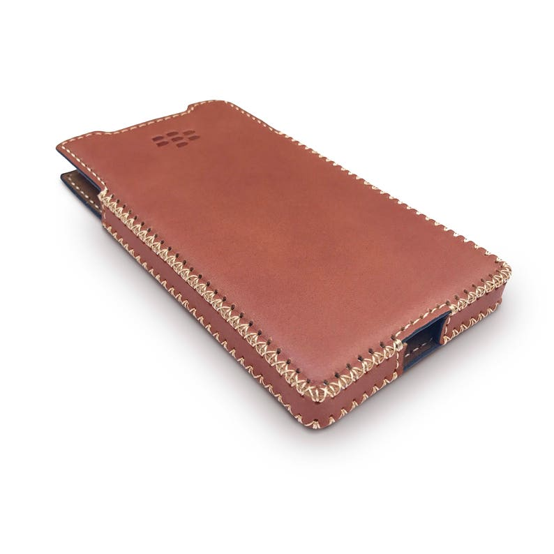 new product 835e0 e7299 Blackberry Priv Leather Case with Built-in Holster Matte Brown Leather