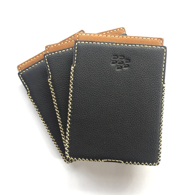 more photos 9ecae 81e00 Blackberry Passport Leather Case with Built-in Holster Dot Black Leather