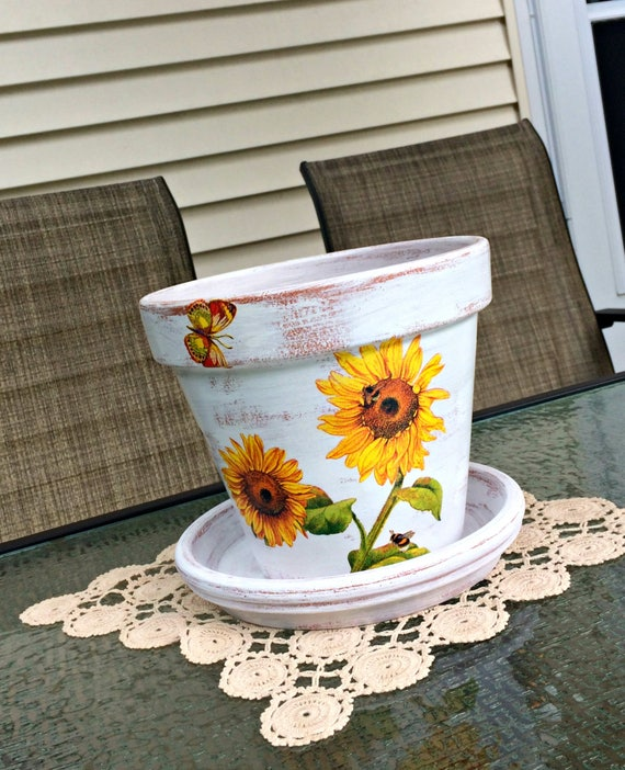 Painted Flower Pot Sunflower Decoupage Planter Tuscan Garden | Etsy