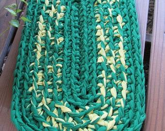 Green & Yellow Crocheted Rag Rug CP119