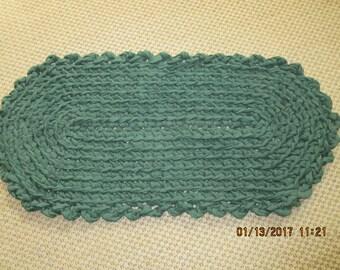 Crocheted rag rug. Forrest green    JW142