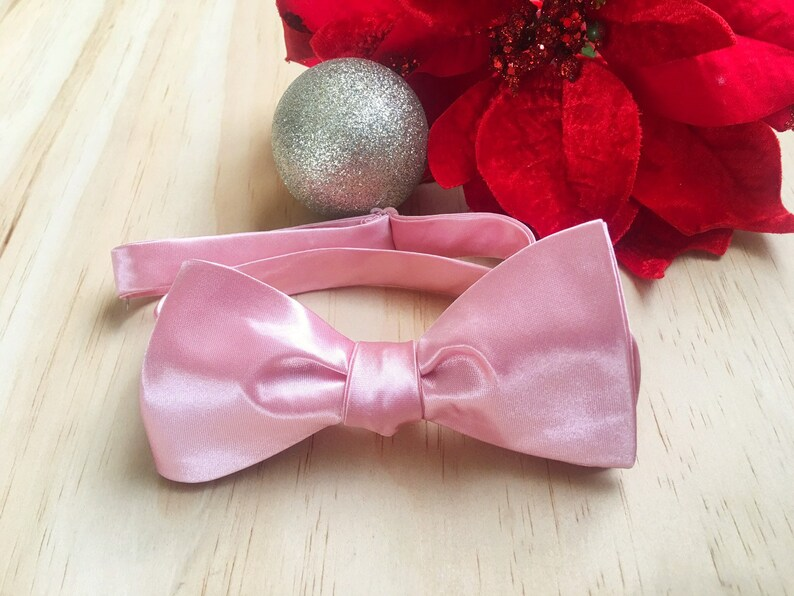 Satin Self Tie Bow Tie Pink Solid Bow Ties for Men Luxury Gift for Men