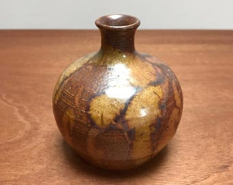 Metallic gold-tone studio pottery vase by Blue Spruce Pottery, Bend OR