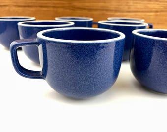 3 Sasaki Colorstone sapphire blue cups / Massimo Vignelli design / minimalist dinnerware