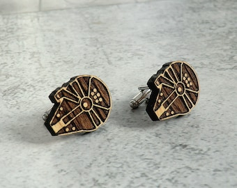 Star Wars Cufflinks Millenium Falcon Wooden Cufflinks Groomsmen gift ideas Star Wars gift Gifts for men Valentines gifts Groomsmen cufflinks