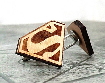 Superman Cufflinks Wooden Cufflinks Groomsmen Gift ideas Groomsmen cufflinks Superman gift Valentines gift for him Wedding Gifts for men