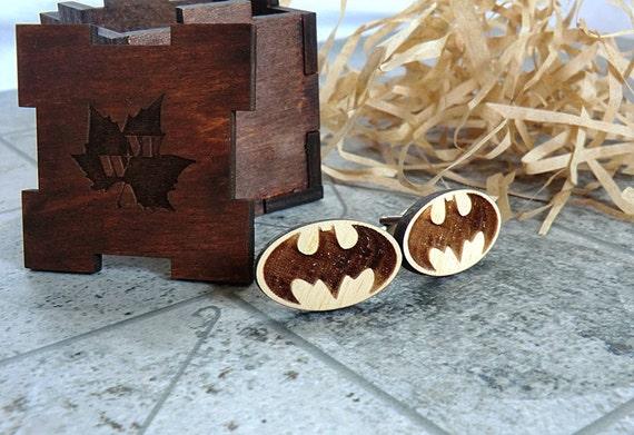 Batman cufflinks wooden cufflinks groomsmen gift ideas star etsy image 0 solutioingenieria Gallery
